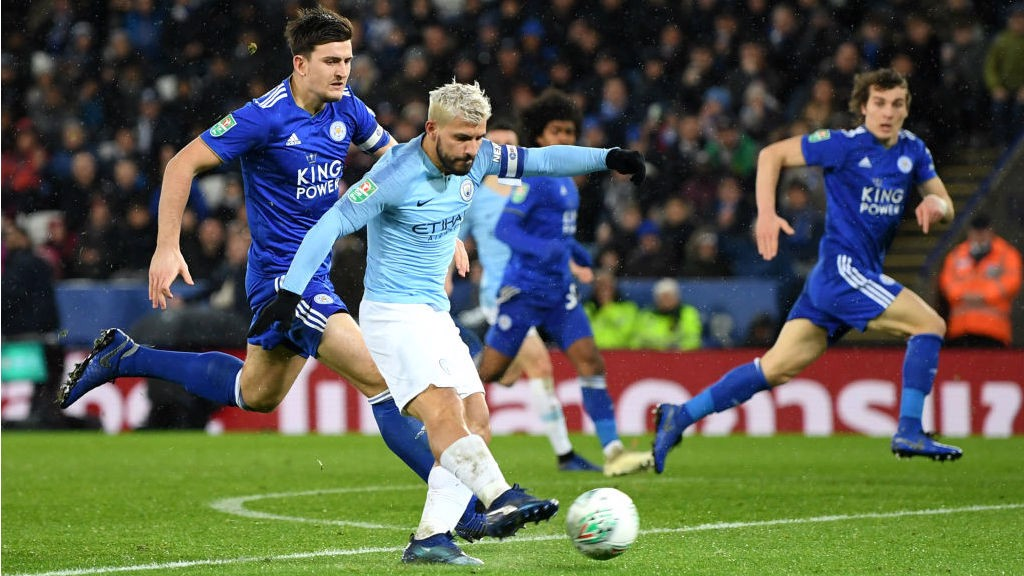 POWER PLAY: Sergio Aguero fires in a shot on the Leicester goal