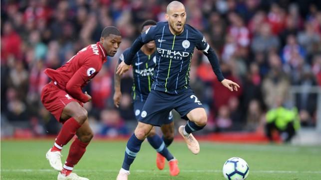 SOLID SILVA: David Silva takes the fight to Liverpool