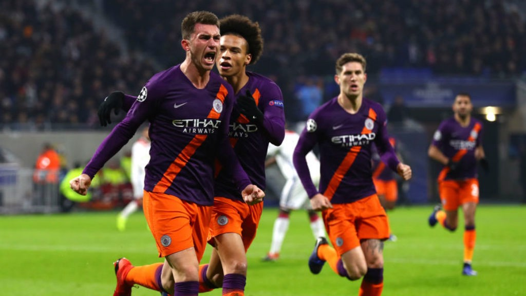 LEVEL BEST: Aymeric Laporte roars with delight after heading home for City