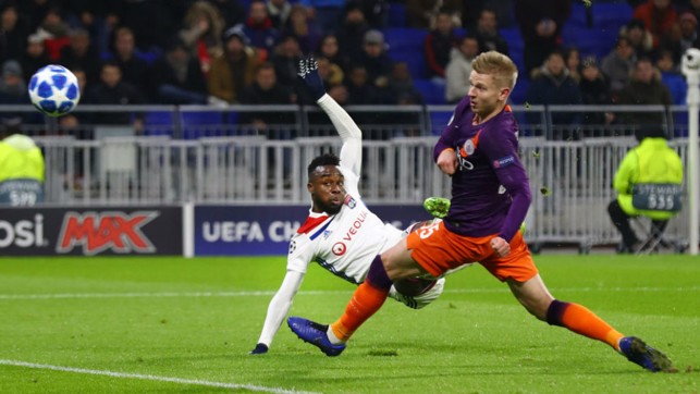 SCARE: Oleksandar Zinchenko challenges as Maxwel Cornet hits the bar for the hosts