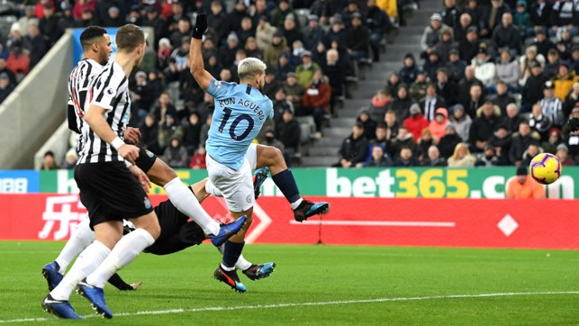 LIGHTNING SERGE: Sergio Aguero hooks in the opener 24 seconds after kick-off