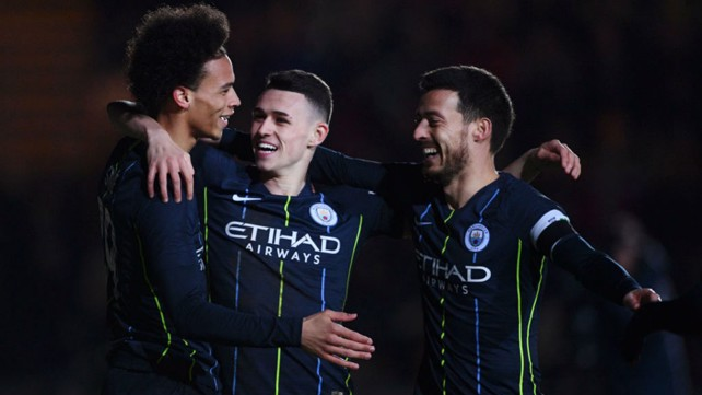 TRIO: Leroy, Phil and David express there delight after Foden's second goal.