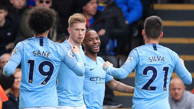 LET THE GOOD TIMES ROLL: Raheem Sterling celebrates opening the scoring for City.
