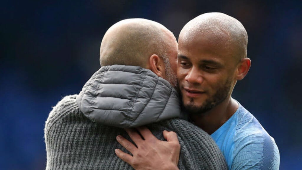 PEP AND KOMPANY: The manager and the captain celebrate the win.