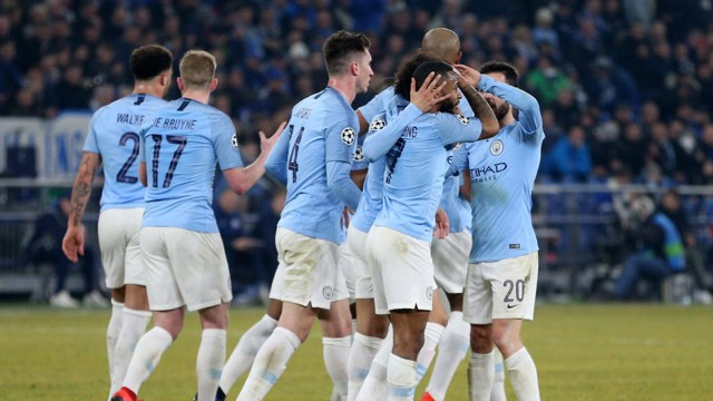 2203b1d77cf City team-mates congratulate Sterling on incredible last-minute winner