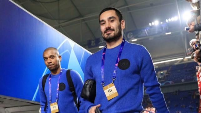 Ilkay Gundogan and Fernandinho arrive at the Arena AufSchalke