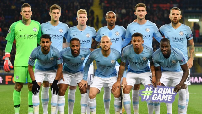 SQUAD GOALS: The City starting eleven line up prior to kick-off at the Metalist Stadium in Kharkiv