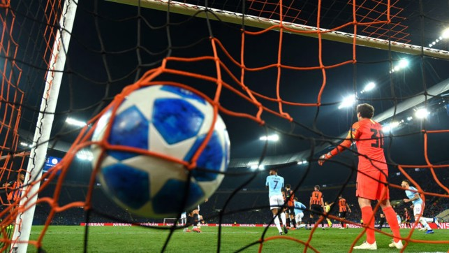 NET GAIN: The ball nestles in the Shakhtar net after Aymeric Laporte's deft header