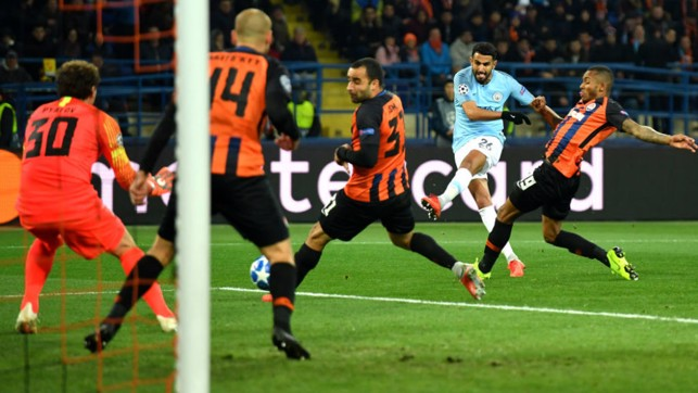 TAKE THAT: Riyad Mahrez powers in another shot on the Shakhtar goal