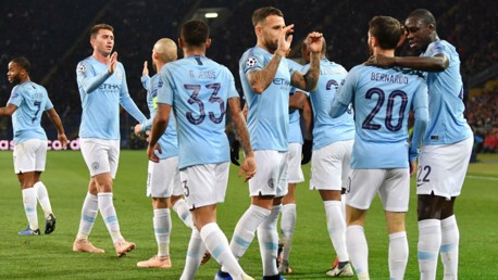 JOB DONE: The City players salute Bernardo Silva after his smart finish