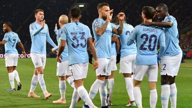 JOB DONE: The City players salute Bernardo Silva after his smart finish