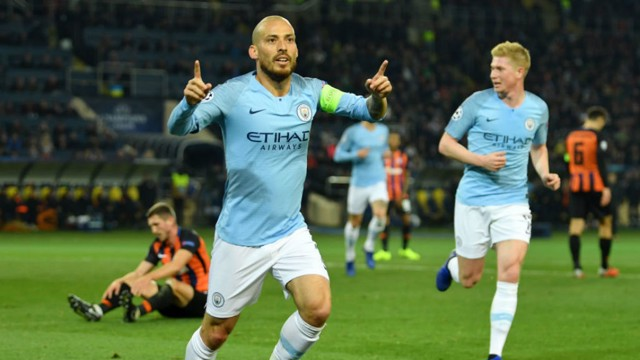 BLUE HEAVEN: David Silva sets off in celebration after his opener in the 3-0 win away at Shakhtar