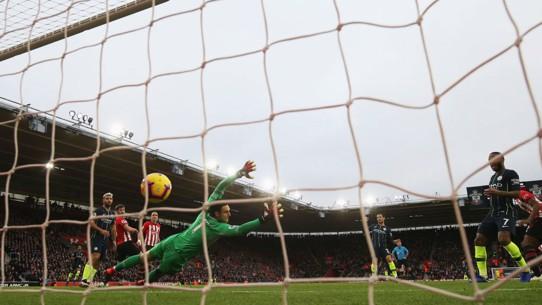 NET GAIN: David Silva's crisp strike ripples in the back of the Southampton goal