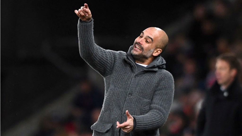 LEADING MAN: Pep Guardiola urges the Blues on