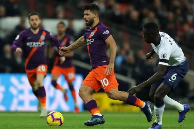 ACTION SHOT: Aguero hunts his 150th Premier League goal.