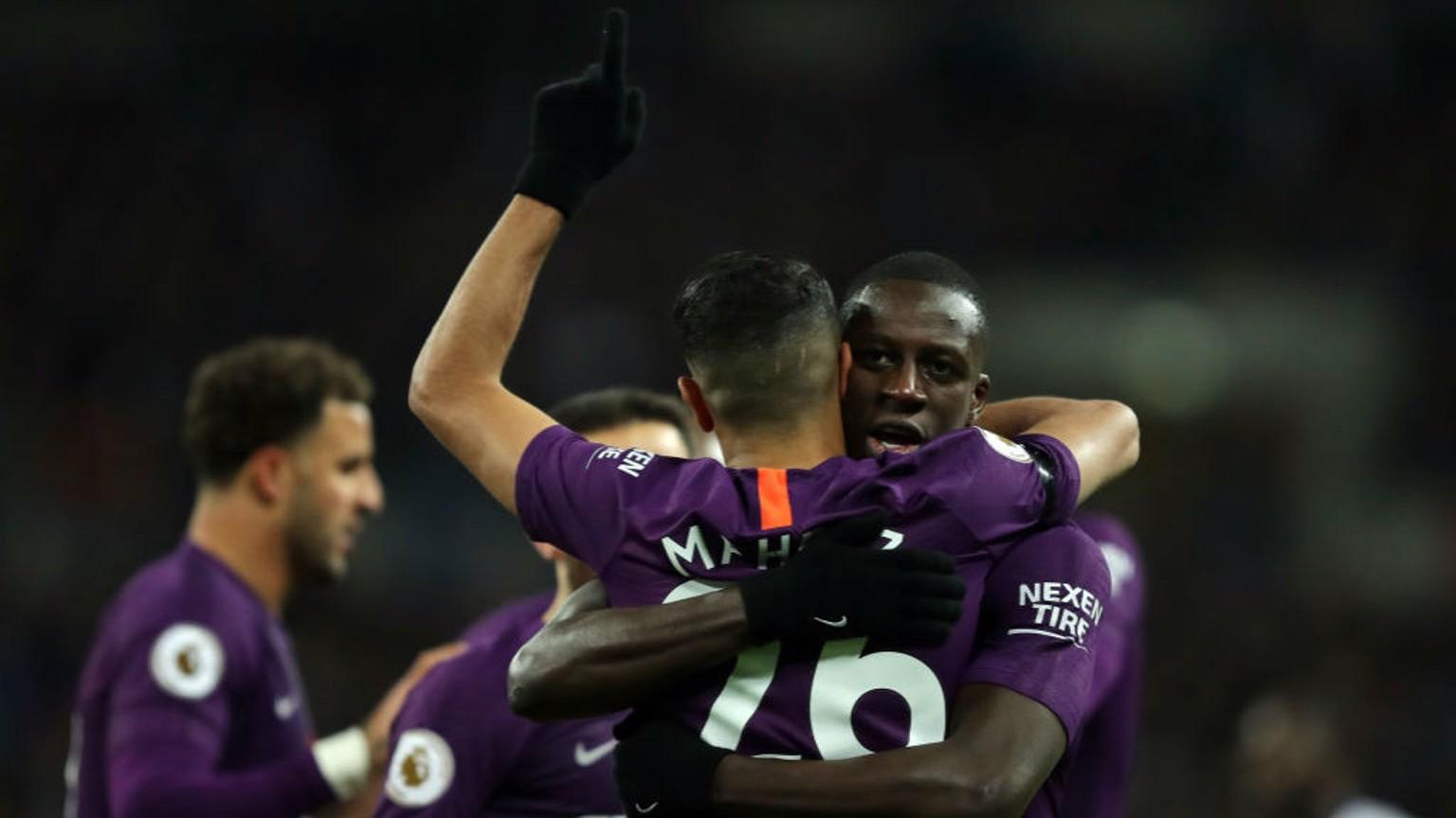 DUO: Mahrez and Mendy celebrate after Riyad's goal.