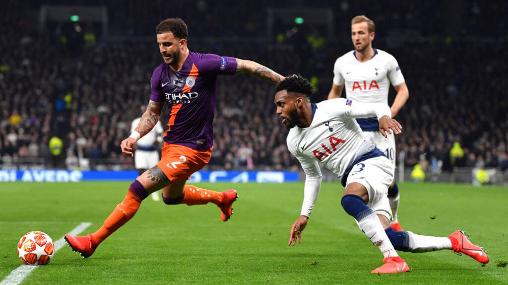 ENGLAND IN EUROPE: Kyle Walker, Danny Rose and Harry Kane were three of eight Englishmen to start the quarter-final