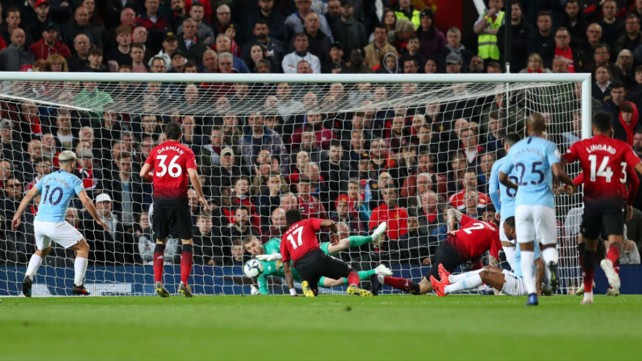 ALMOST: David De Gea goes down to clutch Raheem's shot