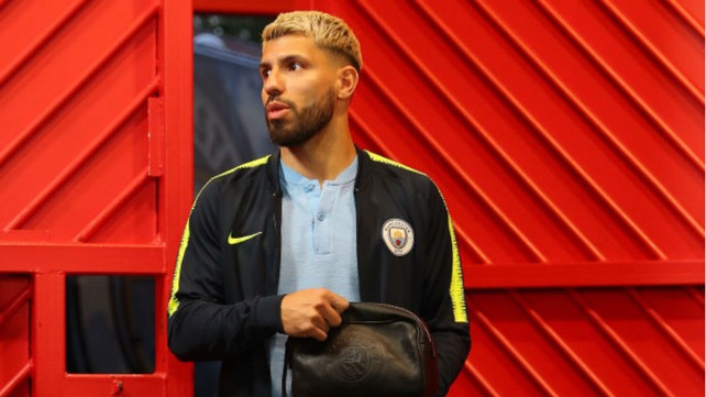 EYES ON THE PRIZE: Sergio Aguero arrives at Old Trafford