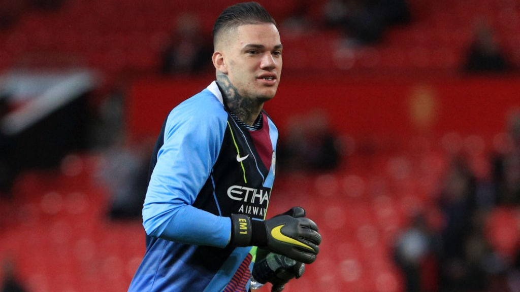 WARMING TO THE TASK: Ederson goes through his pre-match paces