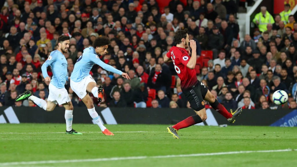 DOUBLE DELIGHT: Leroy Sane strikes to fire home our second goal