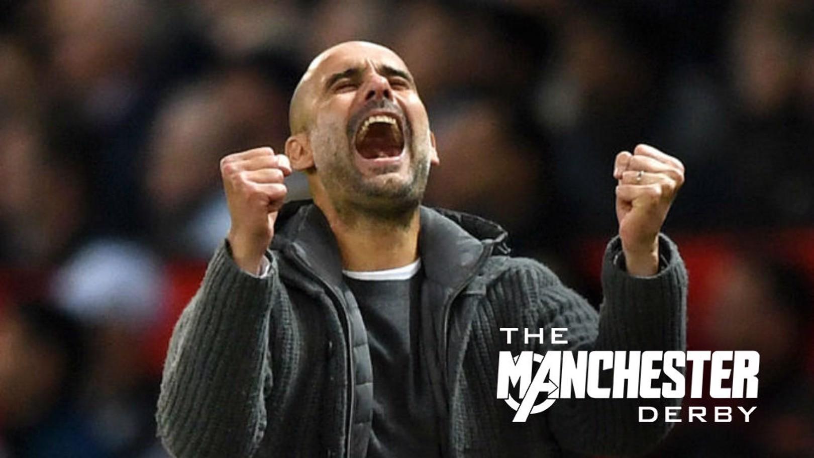 Pep Guardiola celebra la victoria por 0-2 en Old Trafford.