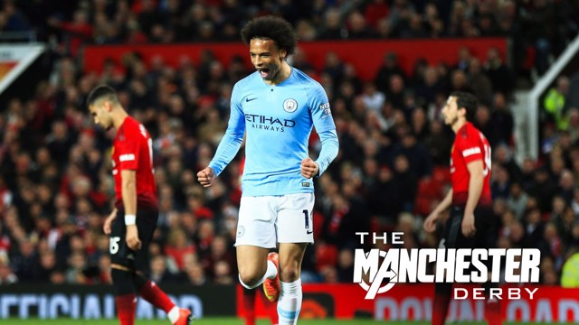 Leroy Sane celebrates City's second goal at Old Trafford