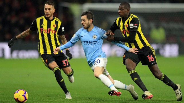 MIDDLE MARCH: Bernardo Silva causes havoc in the Watford defence