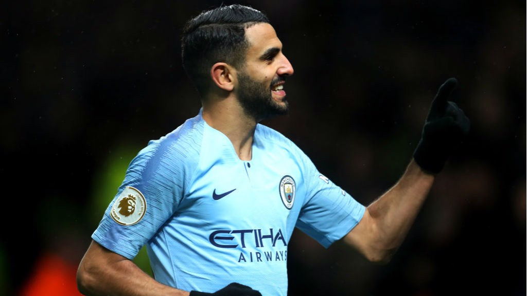 SUPER TUESDAY: Riyad Mahrez celebrates after netting City's second goal