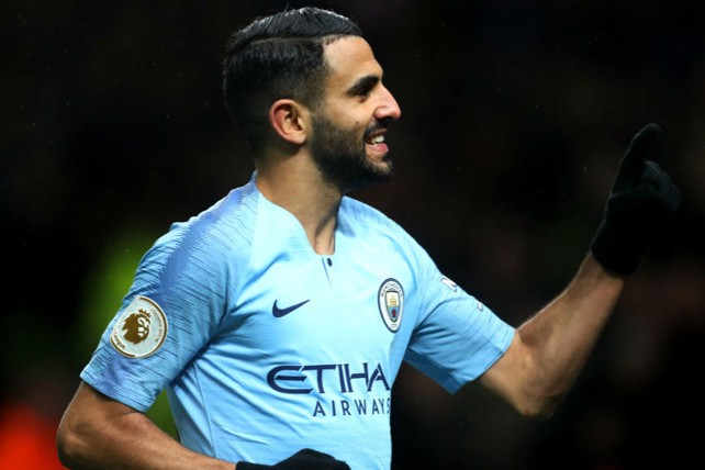 SUPER TUESDAY: Riyad Mahrez celebrates after netting City's second goal