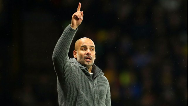 TALKING POINT: Pep Guardiola fires out some instructions to his players