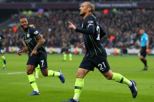 SILVA STREAK: David Silva celebrates after scoring his fourth goal in as many games