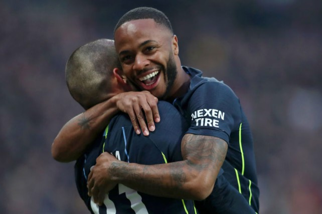 CELEBRATION TIME: For Raheem Sterling after his early strike