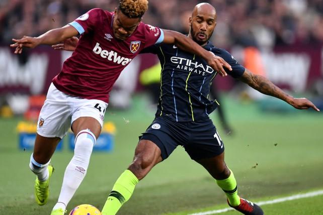NO ENTRY: Fabian Delph blocks a West Ham attack
