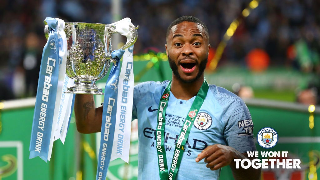 Raheem Sterling lifts Carabao Cup trophy