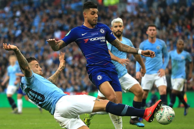 SLIDE RULE: Nicolas Otamendi times his challenge to perfection in denying Emerson