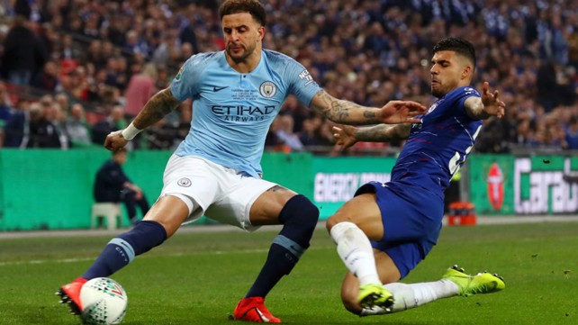 BY THE RIGHT: Kyle Walker whips in a dangerous cross