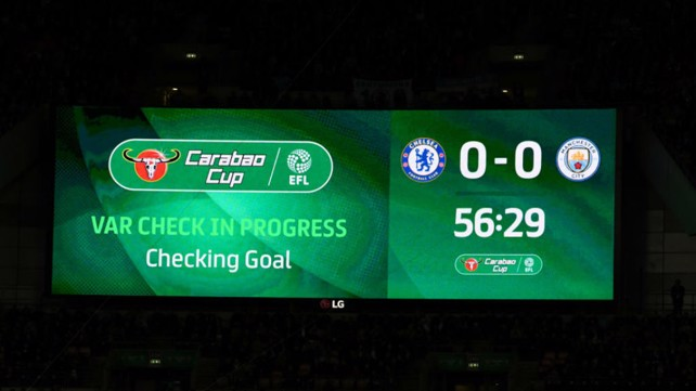 CHECK POINT: The scoreboard flashes up the VAR consultation after Sergio's second half effort