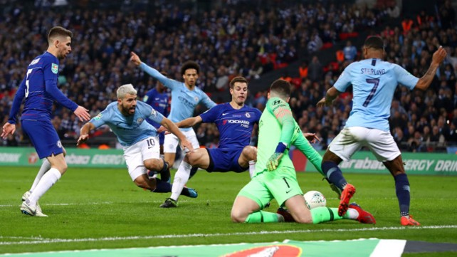 SO CLOSE: Sergio Aguero almost makes the breakthrough in extra time