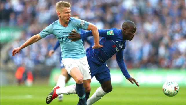 CLOSE QUARTERS: Oleks Zinchenko tussles with N'golo Kante