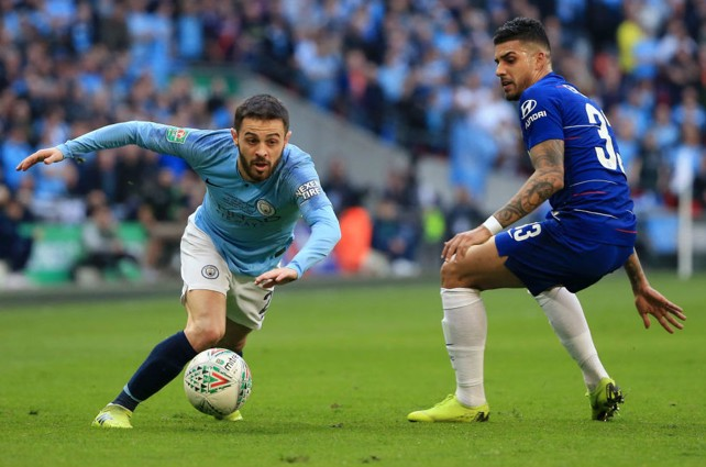 SOLID SILVA: Bernardo skips past Emerson as City turn up the Wembley pressure