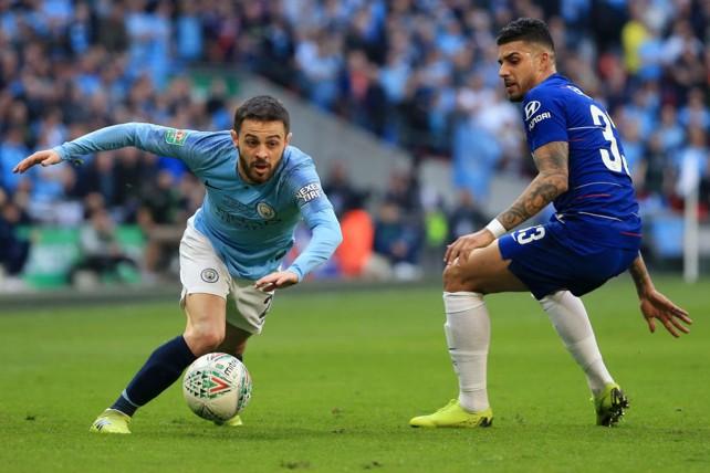 SOLID SILVA: Bernardo skips past Emerson as City turn up the Wembley pressure