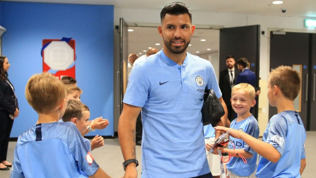 READY TO RUMBLE: Sergio Aguero greets some of the City mascots as he arrives at Wembley