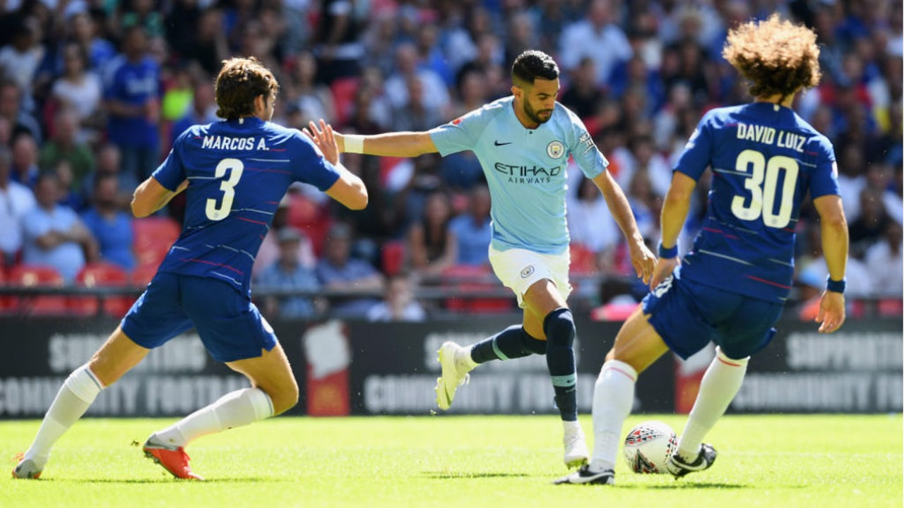 ACTION MAN: Riyad Mahrez looks to fire in a shot on the Chelsea goal