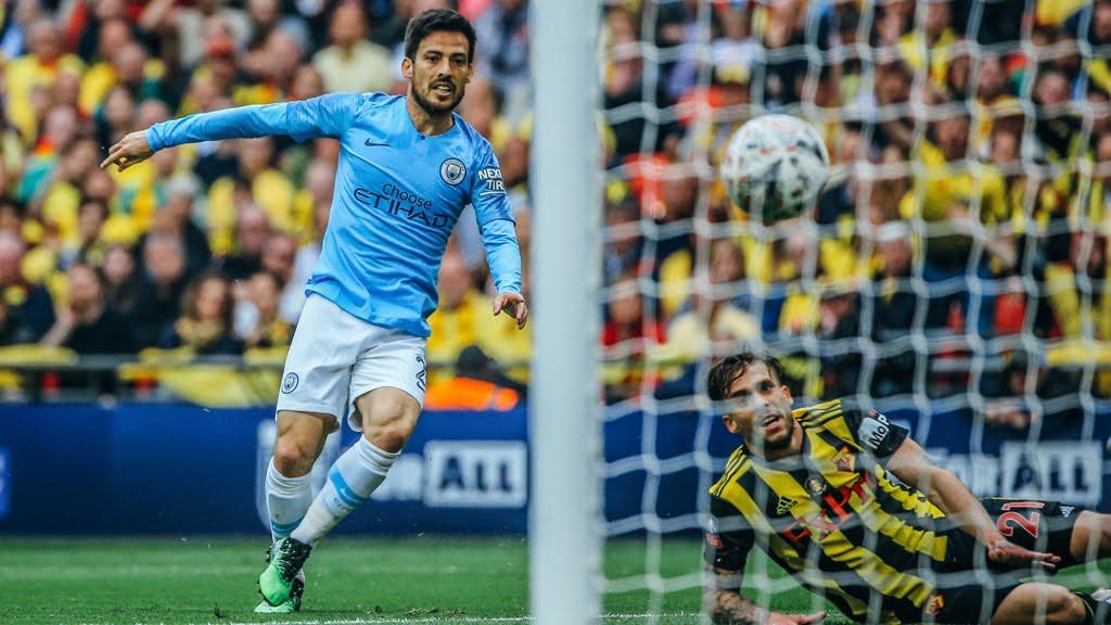 OUT THE BLOCKS: David Silva opens the scoring