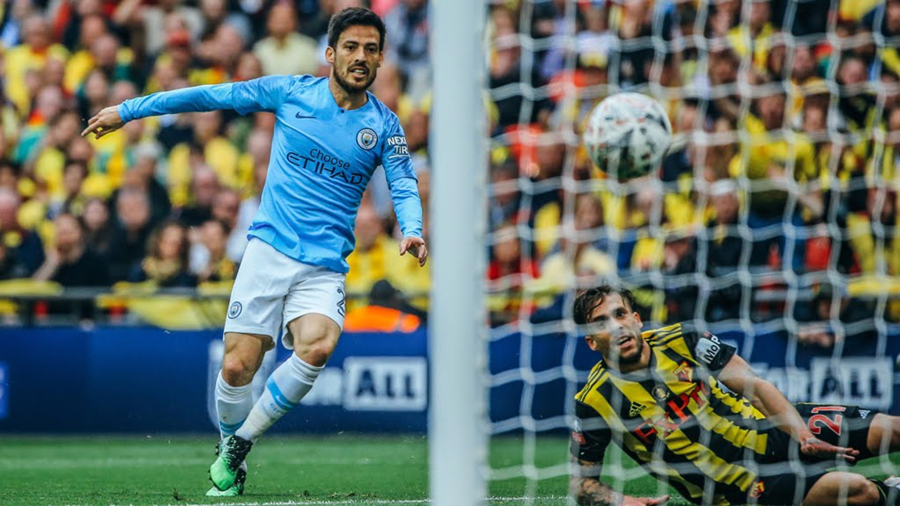 OUT THE BLOCKS: David Silva opens the scoring
