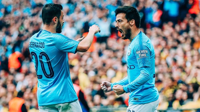 SILVA LININGS: Our two midfield maestros celebrate the opener