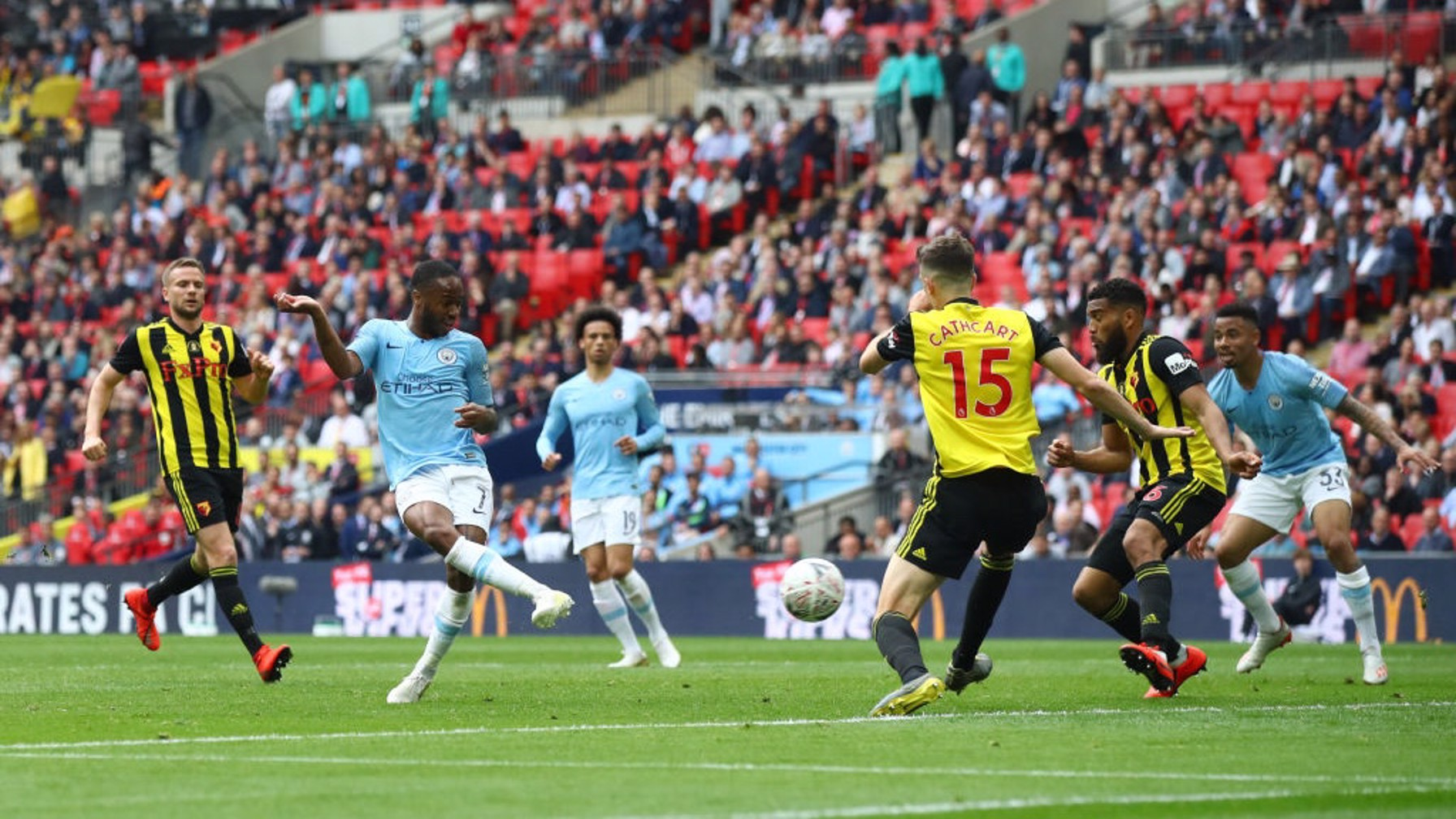 SIX OF THE BEST: Sterling gets a second for him, and a sixth for City - a record in an FA Cup final at the new Wembley