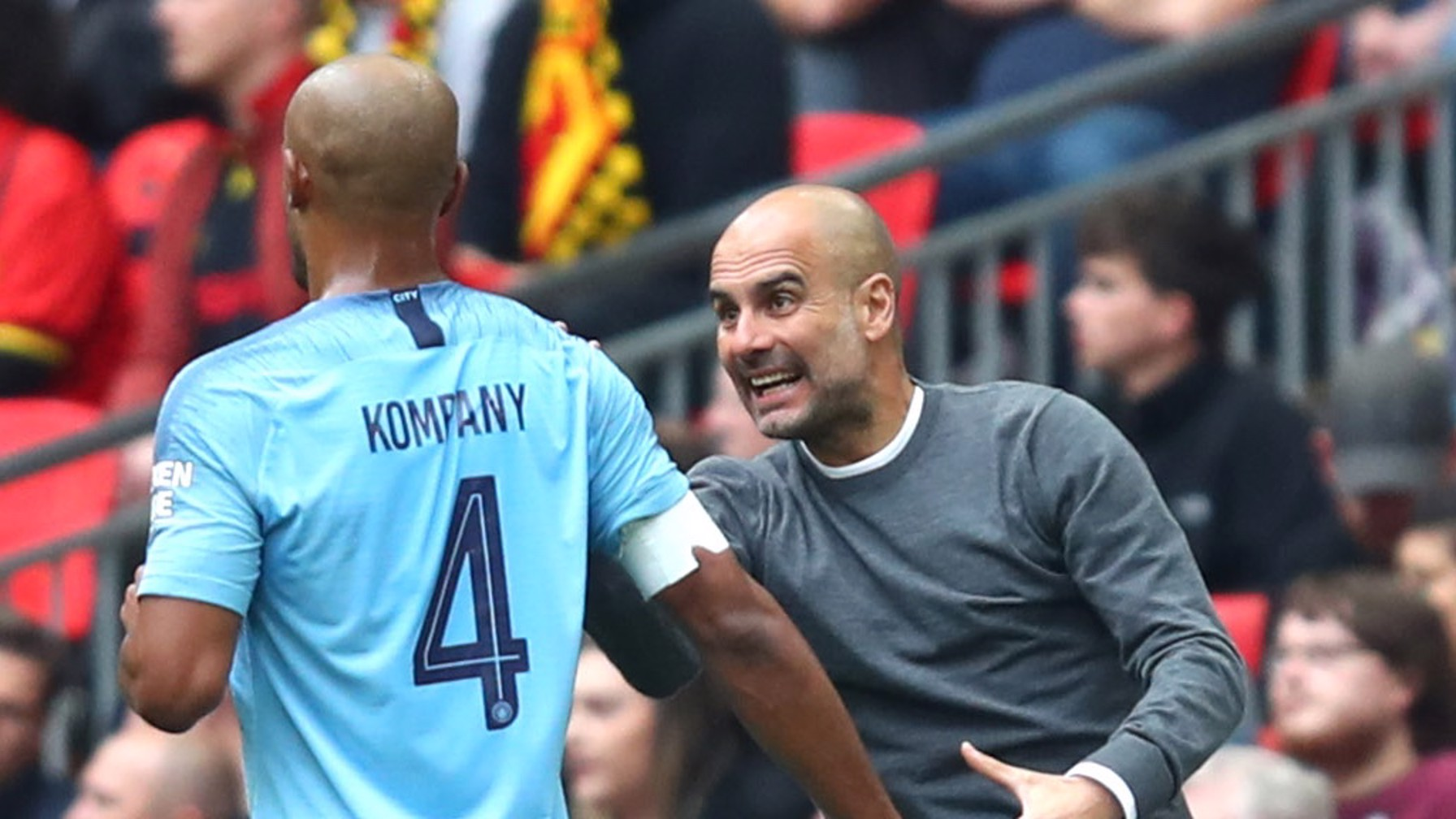 PEP TALK FOR VINNIE: The manager instructs the captain