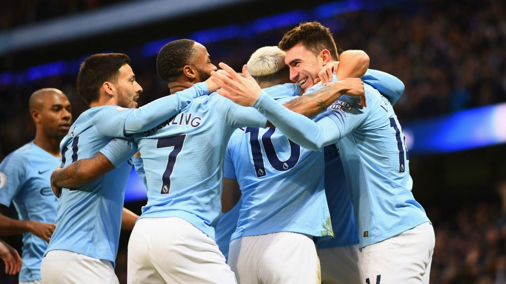 HALF WAY THERE: City celebrate 2-1 lead.